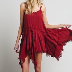 Free People tattered shredded slip dress
